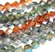 Faceted cube glass beads